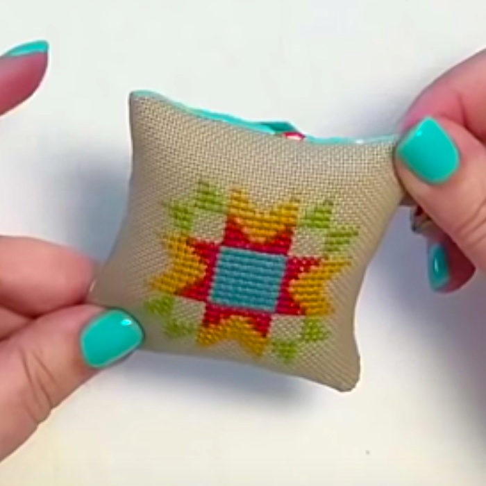 How To Make Mini Cross Stitch Pillows - Easy Sewing Gifts - DIY Pincushion Ideas