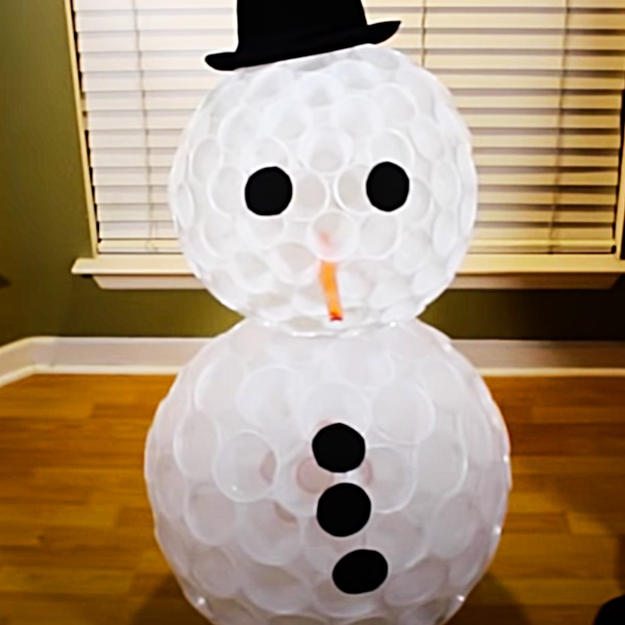 How To Make A Plastic Cup Snowman - DIY Christmas Decor - DIY Lighted Snowman