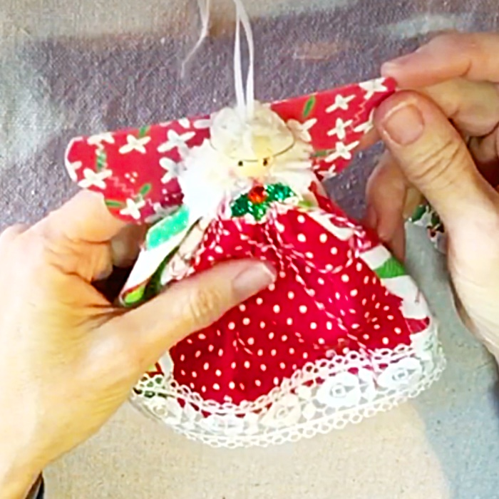 DIY Christmas Tree Angel - Charm Pack Fabric Angel - DIY Holiday Decor