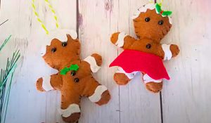 DIY Felt Gingerbread People Ornament