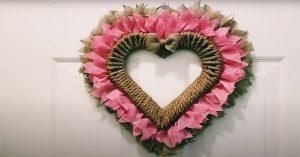 DIY Dollar Tree Farmhouse Heart Wreath