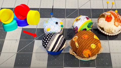 DIY Bottle Cap Pin Cushion | DIY Joy Projects and Crafts Ideas