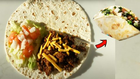 Taco Tortilla Wrap Recipe (TikTok Tortilla Fold Hack) | DIY Joy Projects and Crafts Ideas