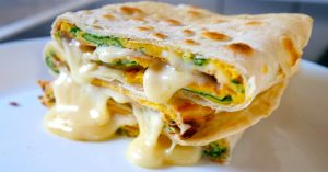Tortilla Omelette Spinach and Cheese Breakfast Recipe