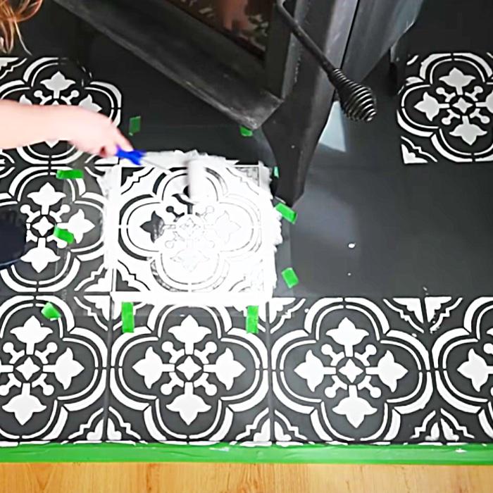 How To Stencil A Floor - Easy Floor Makeover - DIY Floor Ideas