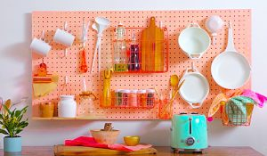 DIY Kitchen Pegboard Storage Wall