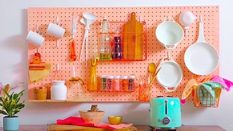 DIY Kitchen Pegboard Storage Wall | DIY Joy Projects and Crafts Ideas