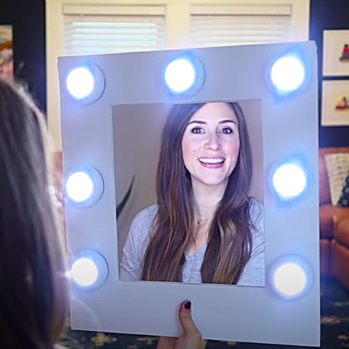 How To make A Makeup Mirror With Push Lights - Easy Dollar Tree DIY - Dollar Tree Makeup Mirror