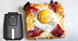 Air Fryer Cheese Egg Bacon Toast Recipe