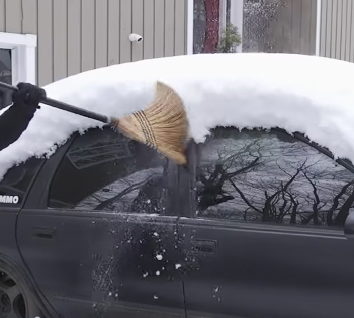Don't use a broom or shovel to remove the snow off the car