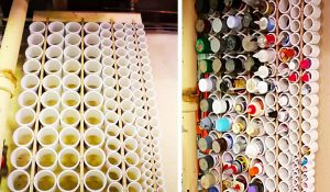 DIY PVC Pipe Storage For Paint