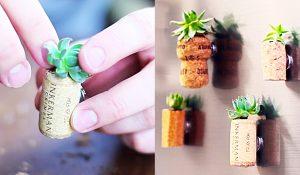 DIY Wine Cork Succulent Fridge Magnets