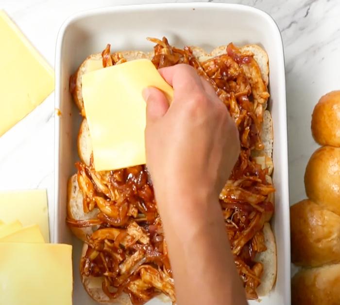 How To Make BBQ Chicken Sliders - Pull Apart Sliders - BBQ Sliders