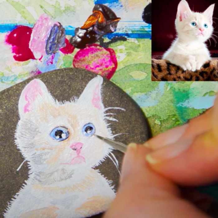 How To Paint A Rock - Cat Rock Project - Easy Way To Do A Portrait Of Your Pet
