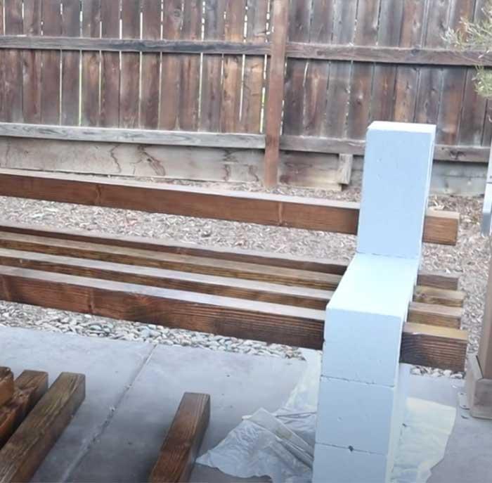 Easy Cinderblock Patio Bench - DIY Patio Furniture