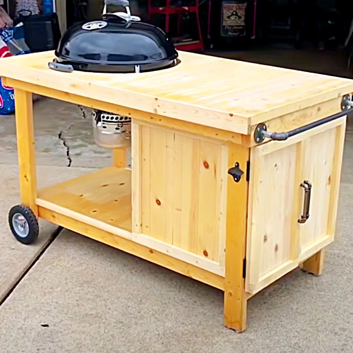 Easy Build Weber BBQ Cart - Outdoor Food Cart - DIY Barbecue Cart Plans