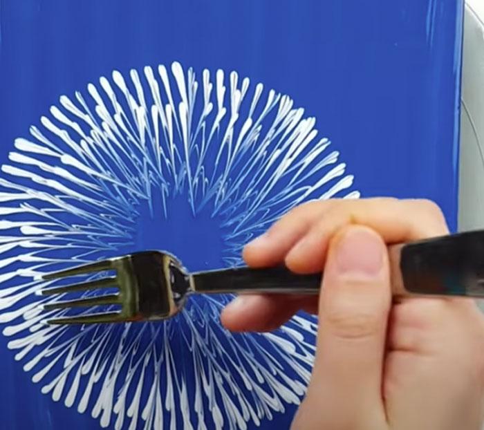 Dandelion Painting Using Fork - DIY Painting Hacks