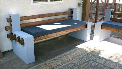 Easy DIY Cinderblock Patio Bench | DIY Joy Projects and Crafts Ideas