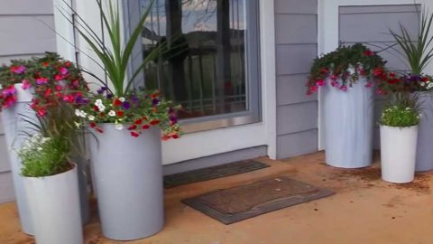 How to Turn Trash Cans Into Tall Planters | DIY Joy Projects and Crafts Ideas