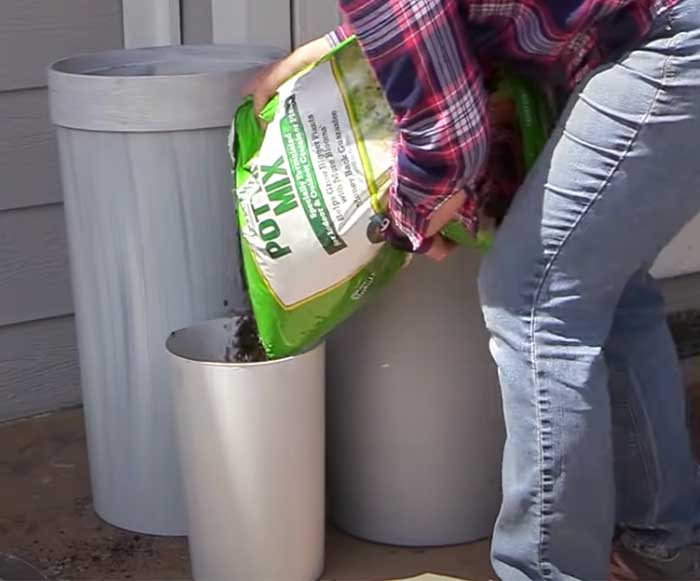 Patio Planters Made From Trash Can - DIY Patio Planter