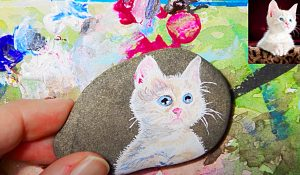 Rock Painting Idea – How To Paint A Cat