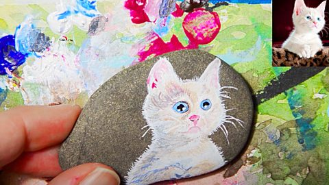 Rock Painting Idea – How To Paint A Cat | DIY Joy Projects and Crafts Ideas