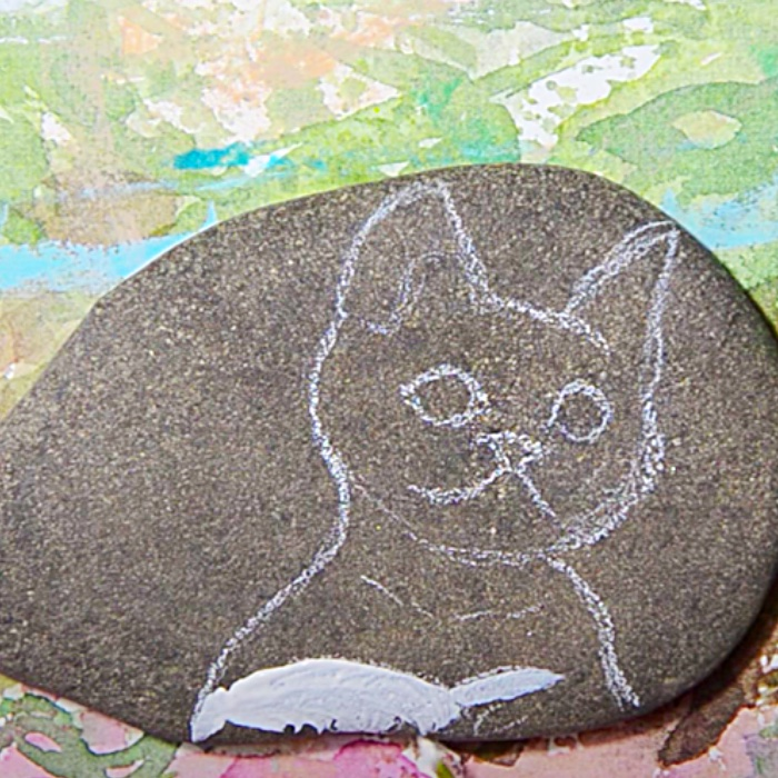 Easy Way To Paint Rocks - Portrait Of A Cat On A River Rock - River Rock Crafts
