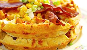 Bacon And Cheddar Cornbread Waffles Recipe