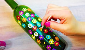 Free Craft Idea: Turn A Leftover Wine Bottle Into Colorful Art