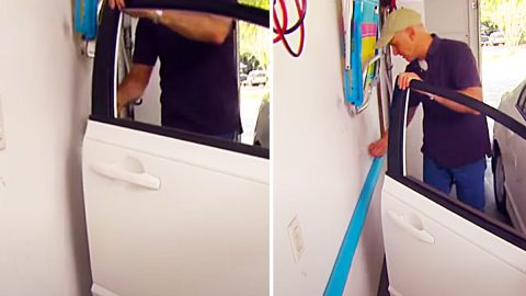 Turn A Pool Noodle Into A Garage Door Bumper Guard   DIY Joy Projects and Crafts Ideas