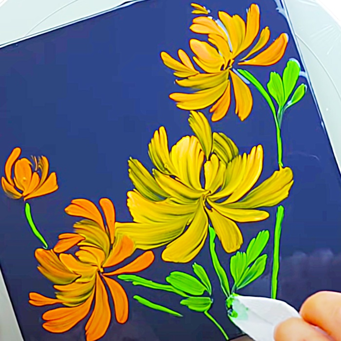 How To Paint With Tissue Paper - Easy Flower Painting Method - Fun Hobby Painting Ideas