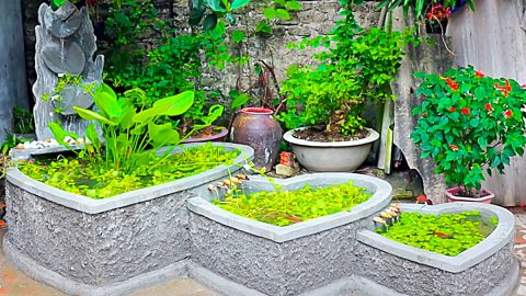 How To Make A 3-Hearts Aquarium With Cement And Bricks | DIY Joy Projects and Crafts Ideas