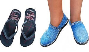 Turn Flip Flops And Old Jeans Into DIY Slippers