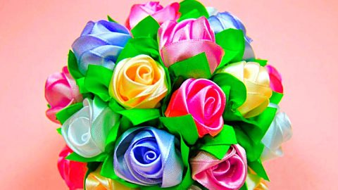 How To Make A Rose Ribbon Bouquet For Mother's Day | DIY Joy Projects and Crafts Ideas