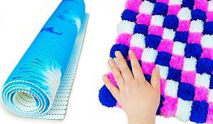 Dollar Tree Craft Idea: Turn A Shower Mat Into A Pom-Pom Carpet