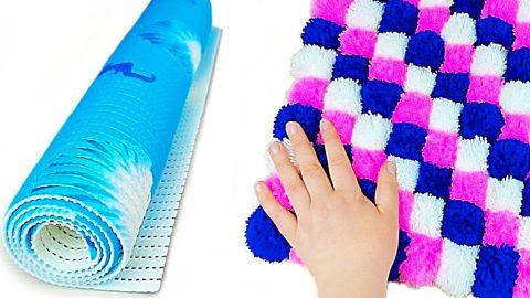 Dollar Tree Craft Idea: Turn A Shower Mat Into A Pom-Pom Carpet   DIY Joy Projects and Crafts Ideas