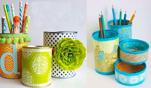 How To Make Desk Organizers From Tin Cans