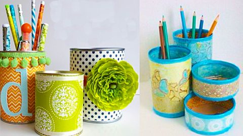 How To Make Desk Organizers From Tin Cans | DIY Joy Projects and Crafts Ideas