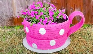 How To Make A Teacup Planter From Old Tires