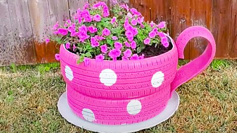 How To Make A Teacup Planter From Old Tires | DIY Joy Projects and Crafts Ideas