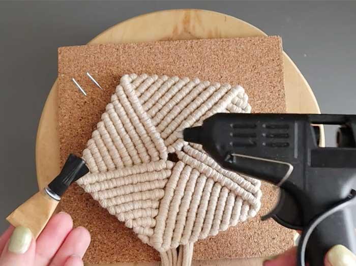 Glue Edges Of Macrame - DIY Coaster