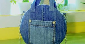 Round Handbag Made From Old Blue Jeans