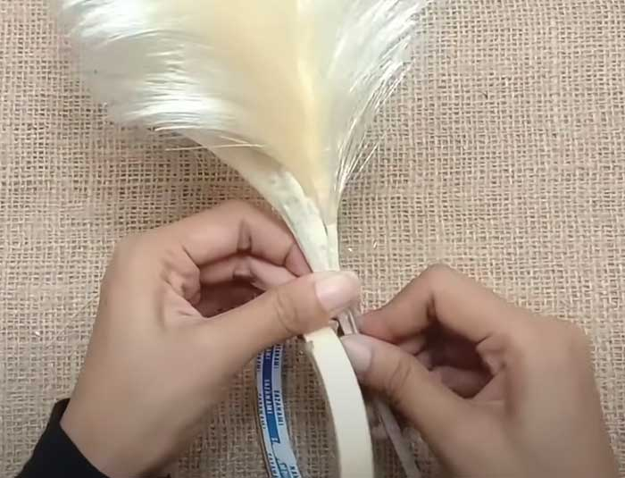 Tape Your Pampas Grass To Wire - DIY Home Decor