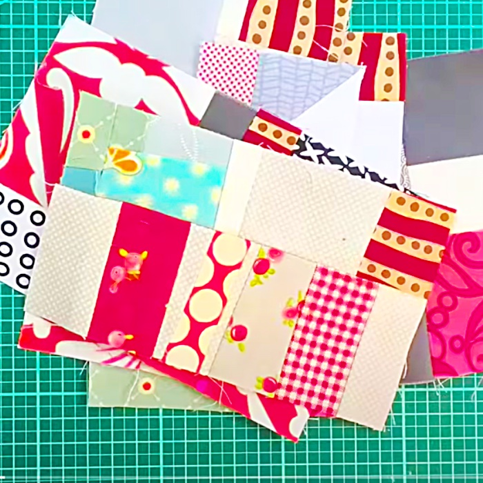 How To make A Crumb Quilt Tote Bag - Easy Crumb Quilt Ideas - Scrap Buster Sewing Project