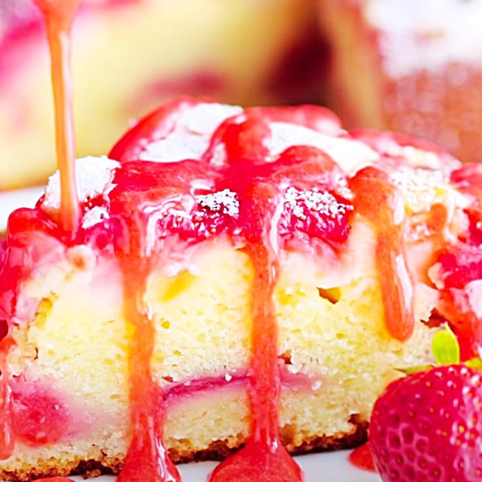 Strawberry Cake Recipe - Summer Dessert Ideas - Easy Fruitcake Recipe