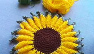 How To Crochet A Sunflower Hot Pad