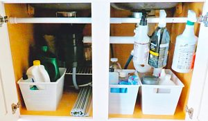 Organize Under The Sink With A Tension Rod