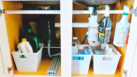 Organize Under The Sink With A Tension Rod | DIY Joy Projects and Crafts Ideas
