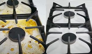 Clean Burnt On Food Onto A White Stove