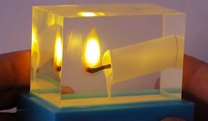How To Make A Burning Candle Frozen In Epoxy